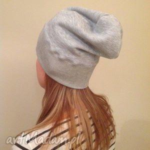 czapka dresowa beanie ze ŚciĄgaczem szara - czapka, beanie, dresowa, dzianina