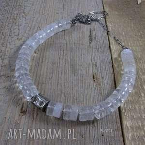 ręcznie wykonane naszyjniki gnieciony walec z kryształem górskim