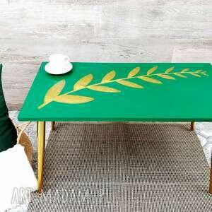stolik kawowy złoto i zieleń - złoty liść, kawowy, stolik, salon, żywica