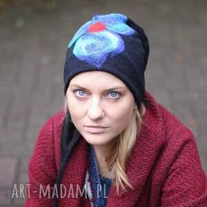 czapka handmade czesanką filcowane czapki wełniane wir, wełna, folk, kwiaty, merynosy