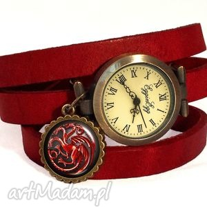targaryen gra o tron - zegarek bransoletka na skórzanym, smoki