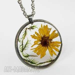 Prezent Naszyjnik z suszonymi kwiatami , Herbarium Jewelry, kwiaty w żywicy z1234