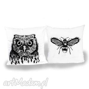 poduszki zestaw poszewek - latający duet malinowe cacko, sowa, pszczoła, poszewki