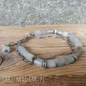 Bransoletka srebrna z akwamarynem, akwamaryn, srebro, srebro-akwamaryn