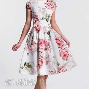 Sukienka MARIE Midi Rosanna, midi, rozkloszowana, marszczona, pasek, kwiaty, kokarda