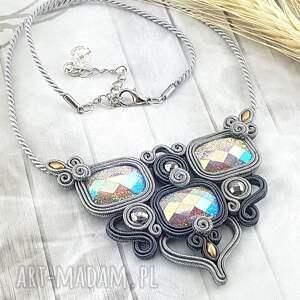 handmade naszyjniki s128/mela piękny naszyjnik sutasz szary