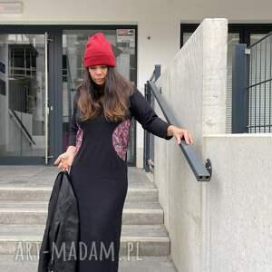 czarna dzianinowa sukienka, maxi dzininowa bohostyle