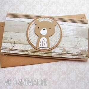 miś rustykalny - kartka kopertówka, miś, chrzciny, roczek, urodzinki