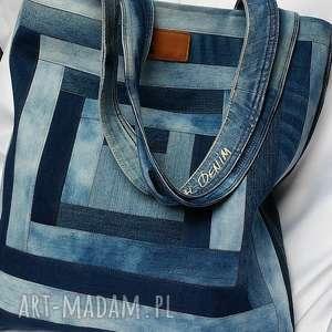 hand-made na ramię bardzo duża torba z jeansu