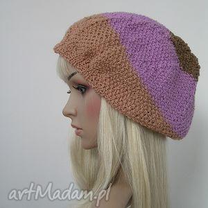 duża czapka w stylu boho - beż, fiolet, brąz, czapka, duża, boho, paski, kolorowa