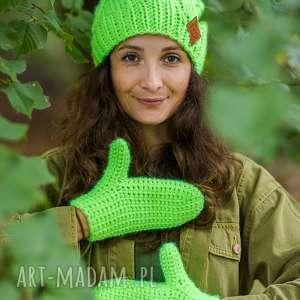 rękawiczki alternatywny neon - zimowe, na sznurku, wełniane ciepłe