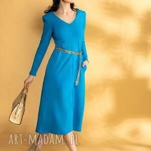 sukienki soczyście niebieska dzianinowa sukienka midi