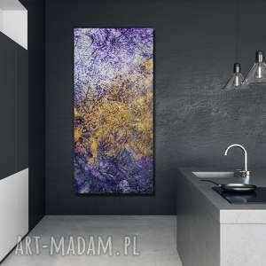 - ametyst abstrakcja ręcznie malowana na płótnie 120x60 cm, unikatowy