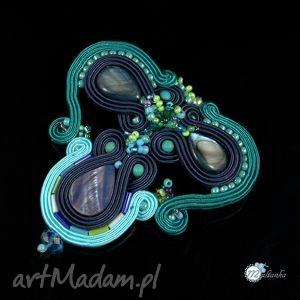 Błękitno-granatowa broszka sutasz - ,broszka,brooch,sutasz,soutache,dekolt,