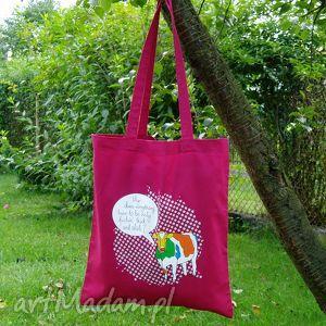 9d98d480571ac eko torba na ramię - zakupy a4 śmieszny nadruk krowa kolor żurawinowy