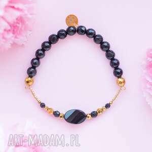 elegancka bransoletka high z czarnych onyksów i złotych hematytów