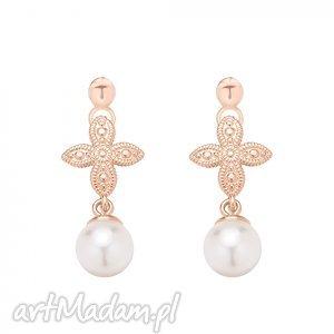 ręczne wykonanie kolczyki kolczyki z różowego złota z rozetką i białą perłą swarovski® crystal