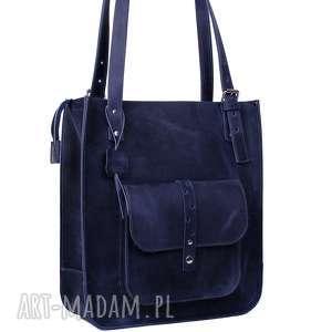 hand made na ramię ręcznie robiona skórzana torebka granatowa, skórzane torby, torebki