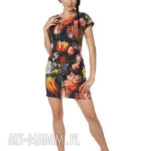 Sukienka w piękne kwiaty bawełna Dutch Tulips Trikot, bawełna, polska-marka