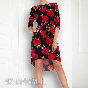sukienka asymetryczna w róże, sukienka, luźna, elegancka, uniwersalna, kasiamiciak