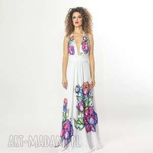Biała suknia w kwiaty, elastyczna, ślubna