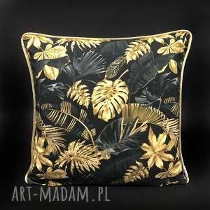 handmade poduszki poduszka złote liście 45x45cm