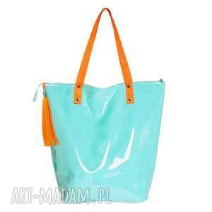 torba shopper neon mint orange, wygodna, wodoodporna, pojemna, na-zakupy, na-plażę
