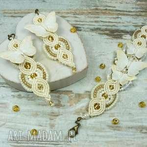 komplet biżuterii idealny na ślub i nie tylko, ślub, ślubna, motyle, makrama, fimo