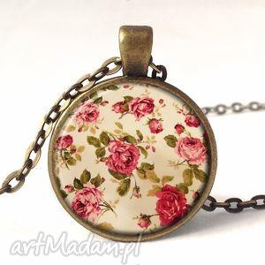 handmade naszyjniki retro róże - medalion z łańcuszkiem