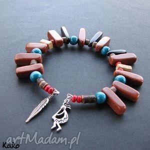 bransoletka kokopelli i piórko, indiańska, kokopelli, etniczna, drewno, folk
