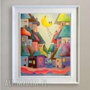 obraz na płótnie - bajkowe miasteczko kotów 40/50 cm, bajka, koty, akryl