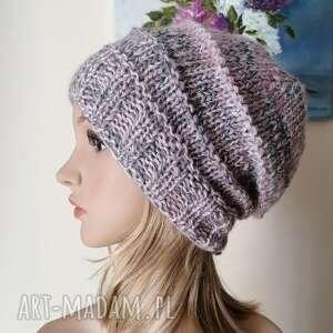 czapki boho z szarością - grubaśna czapka, rękodzieło, bezszwowa czapka na druta