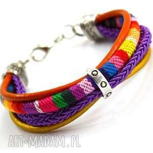 bransoletka boho joyee rainbow simple, bransoletka, rzemienie, tkanina,