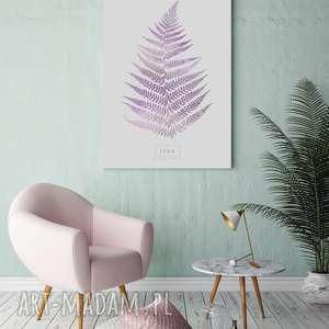 plakat b2 liść paproci różowy, plakat, wystrój, wnętrza, ściana, salon