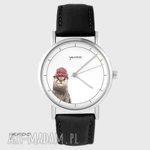 hand made zegarki zegarek yenoo - wydra skórzany, czarny