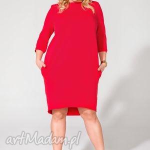 Sukienka T105 czerwony PLUS SIZE, sukienka, dzianina, tuba, szeroka, kieszenie
