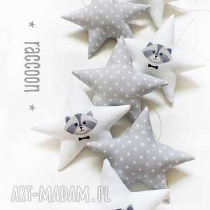 raccoon - girlanda szop, girlanda, gwiazdki, raccoon