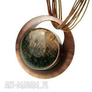 naszyjnik z miedzi brązowym agatem c846, miedziana biżuteria, geometryczny