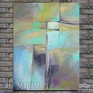 Obraz na płótnie - ABSTRAKCJA 40/50 cm, abstrakcja, zieleń, akryl, szary, niebieski
