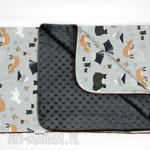 Kocyk Minky 75x100 Wild one , kocyk, dziecko, minky, las, zwierzęta, chłopiec