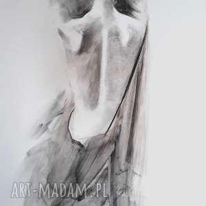 kobieta, duży-obraz-kobieta, obraz-do-salonu, czarno-biały-obraz, rysunek-węglem