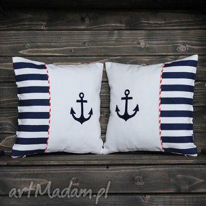 komplet poduszek marine - szczecin, marine, marynistyczny, marynarski, poduszki