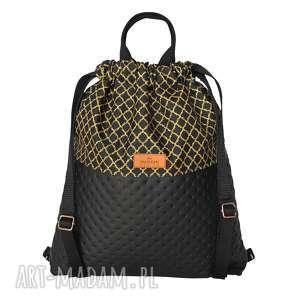 hand made plecak eko skóra czarny & złote maroko
