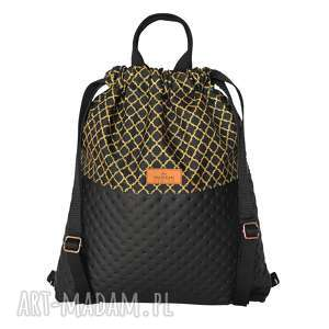Plecak eko skóra czarny & złote maroko maremi design worek