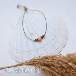 bransoletka sznurkowa opal koral i hematyt, sznurkowa, sznureczkowa, delikatna