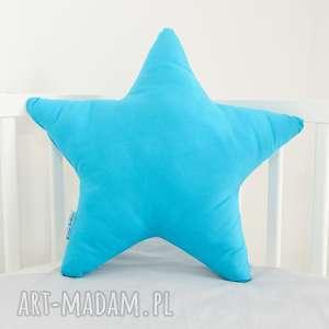 ręcznie zrobione pokoik dziecka duża poduszka gwiazdka ciemny turkus