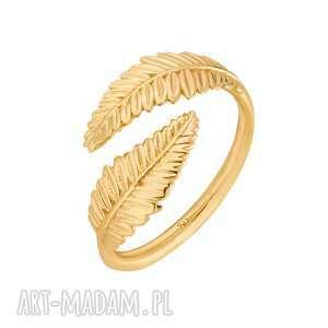 złoty pierścionek z liśćmi laurowymi sotho, pozłacany