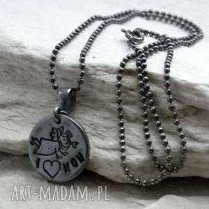 Prezent Kocham Mamę, anioł, mama, srebro, prezent, naszyjnik
