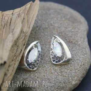 Kolczyki opal srebrze, kolczyki, opal, srebrne, ażurowe, wkrętki, opalizują