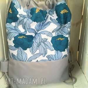 worek plecak wodoodporny kwiaty niebieskie, worek, plecak